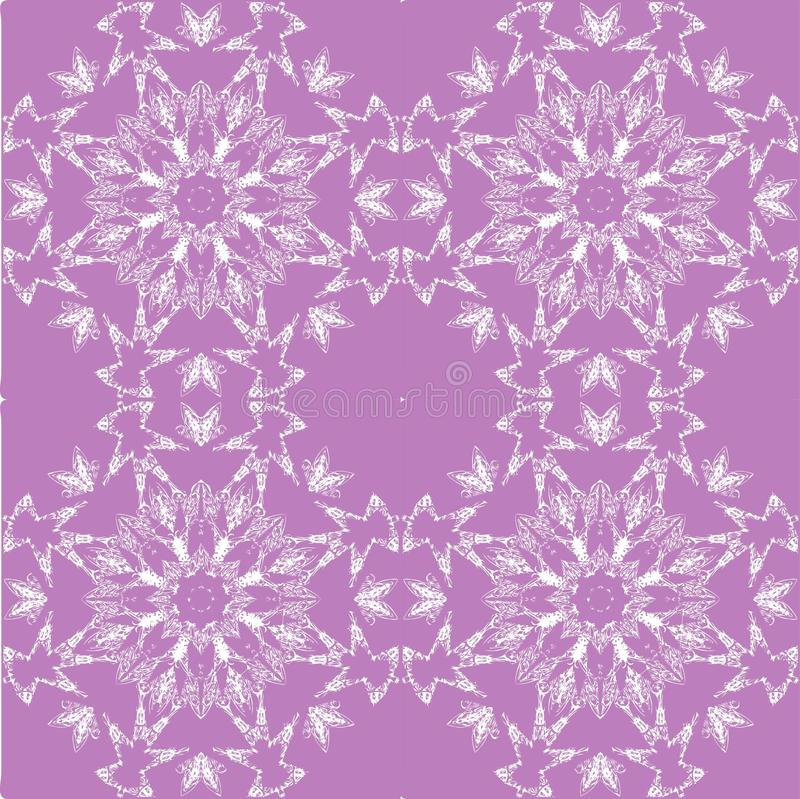 White lace pattern. White pattern, exquisite, design, abstract lines on a purple background stock illustration