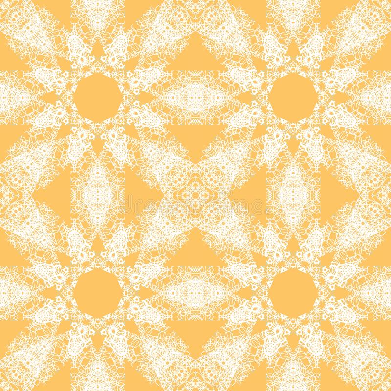 White lace pattern. White pattern, exquisite, design, abstract lines on a yellow background royalty free illustration
