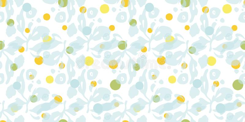 White pattern with floral and dot. royalty free illustration