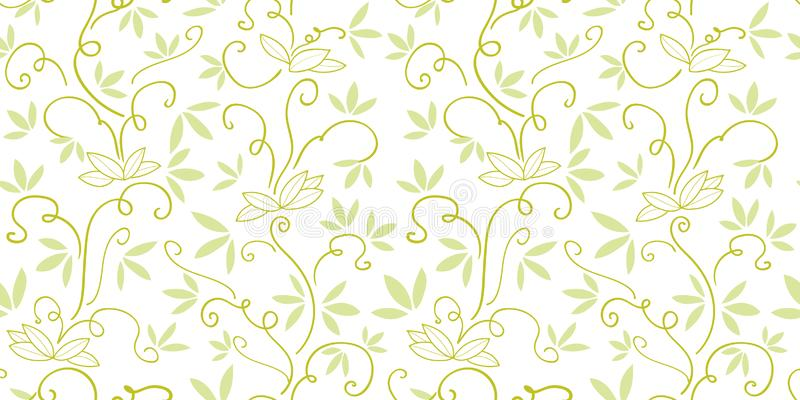White pattern with green abstract plant. stock illustration