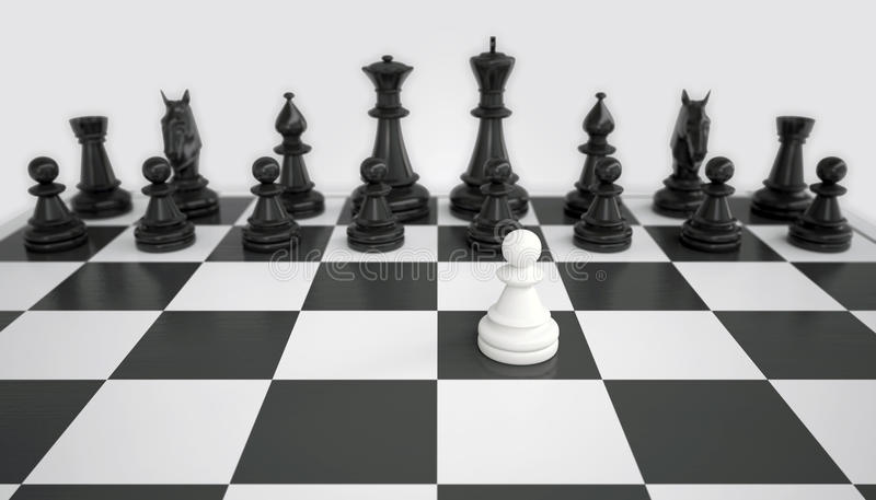 White pawn before the army of black chess pieces royalty free stock photo