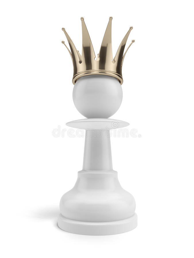 White Pawn With A Crown Stock Image
