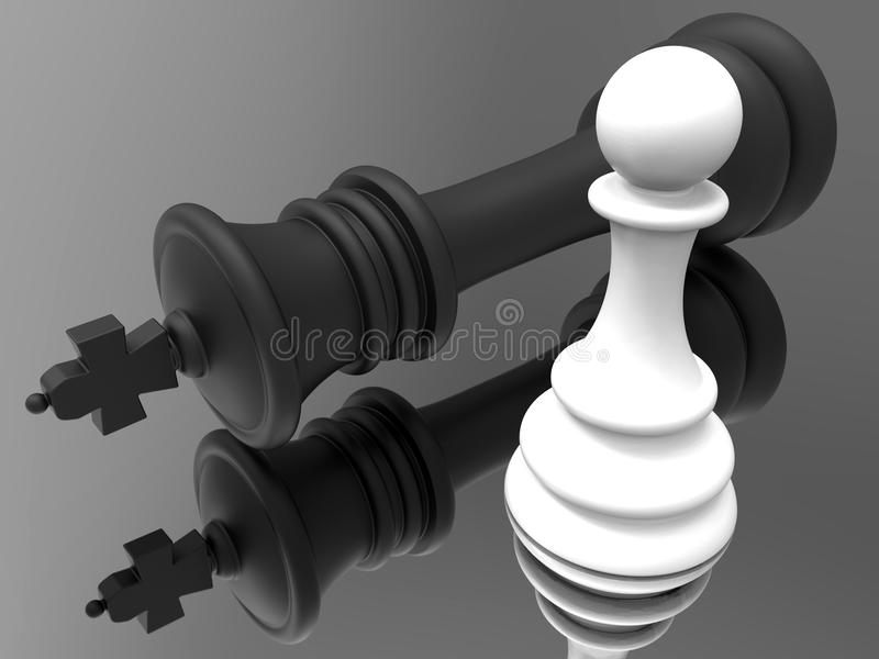 White pawn dominance. 3D rendered illustration that shows the white pawn dominance over the black king. The composition is isolated on a black reflective stock illustration