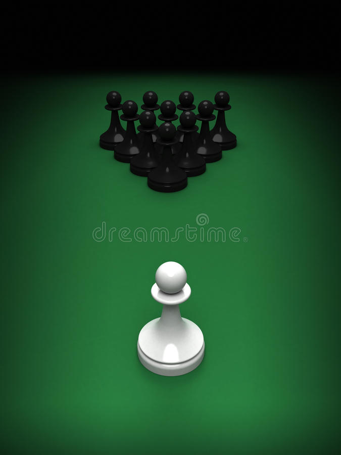 White pawn opposite blacks on green pool table. Abstract concept of chess and pool mix. One white pawn opposite blacks on the green pool table. 3d render royalty free illustration