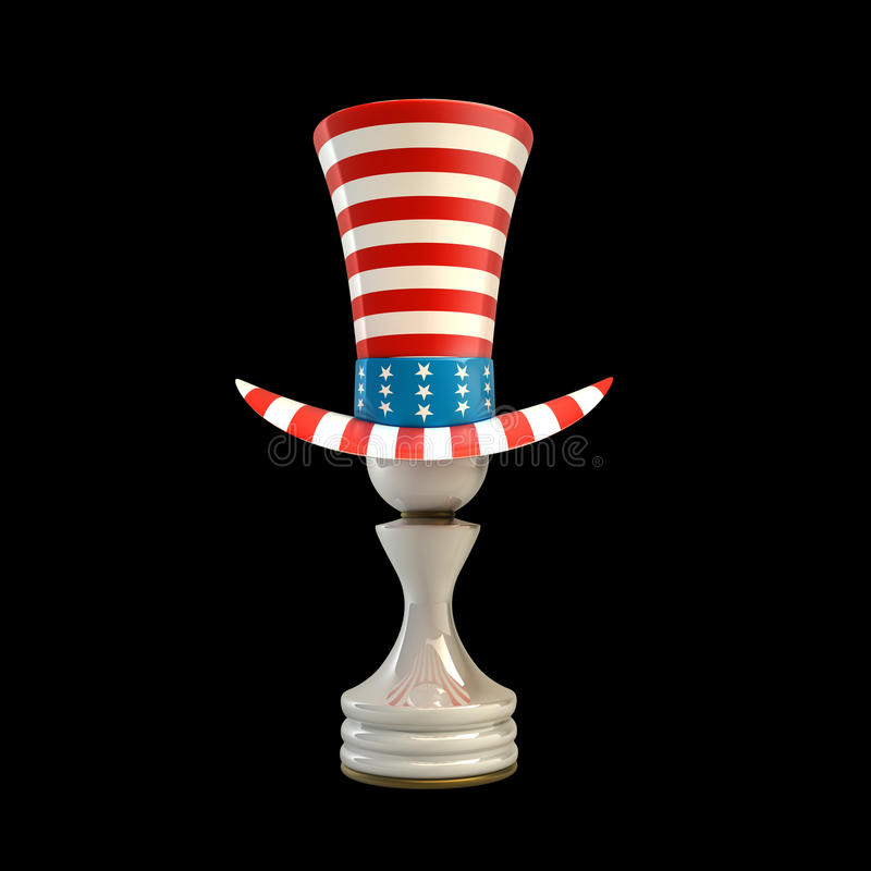 White Pawn in a TOP hat of usa royalty free illustration