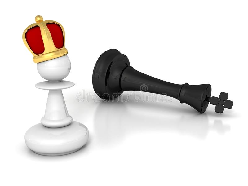 White pawn winner with golden crown and defeated black king stock illustration