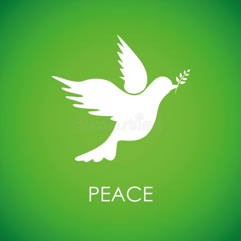 White peace dove on green background stock illustration