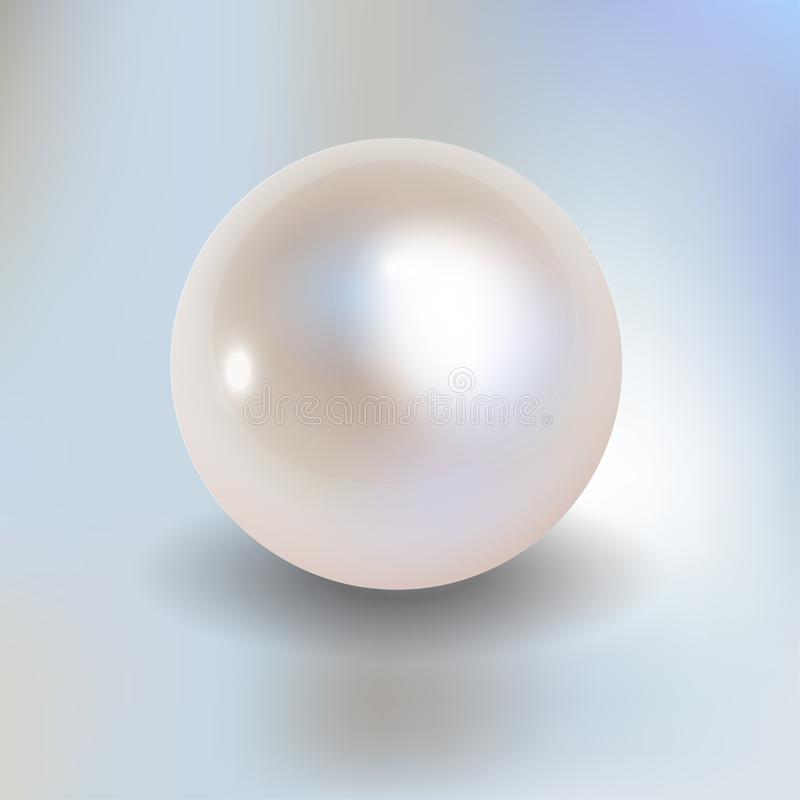 Pearl vector on a light blue bokeh fog background. White Pearl vector on a light blue bokeh fog background vector illustration