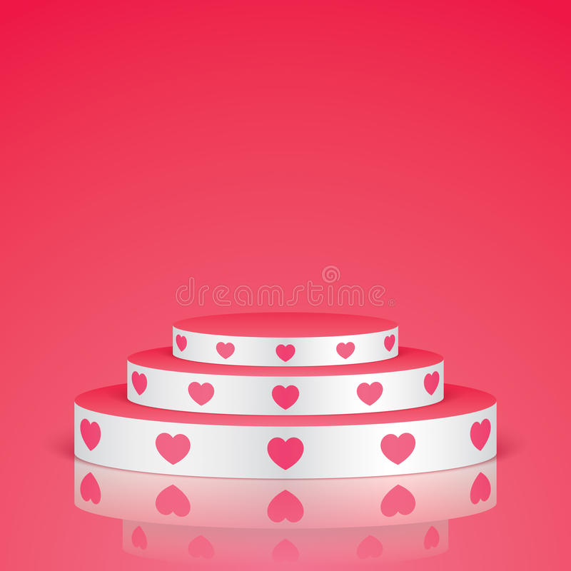 White pedestal with pink hearts. White vector stage with stairs and pink hearts, isolated on a pink background vector illustration