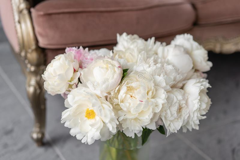 White peonies in a metal vase. Beautiful peony flower for catalog or online store. Floral shop concept . Beautiful fresh royalty free stock images