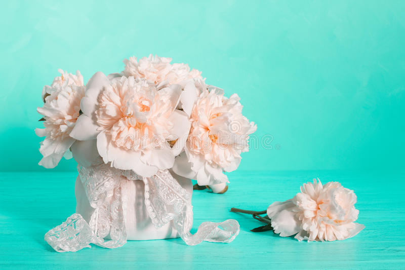 White peonies. Still life with white peonies royalty free stock images