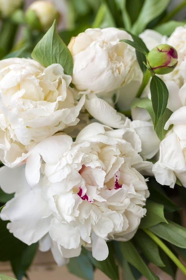 White peony flowers wedding bouquet, close up. royalty free stock photo