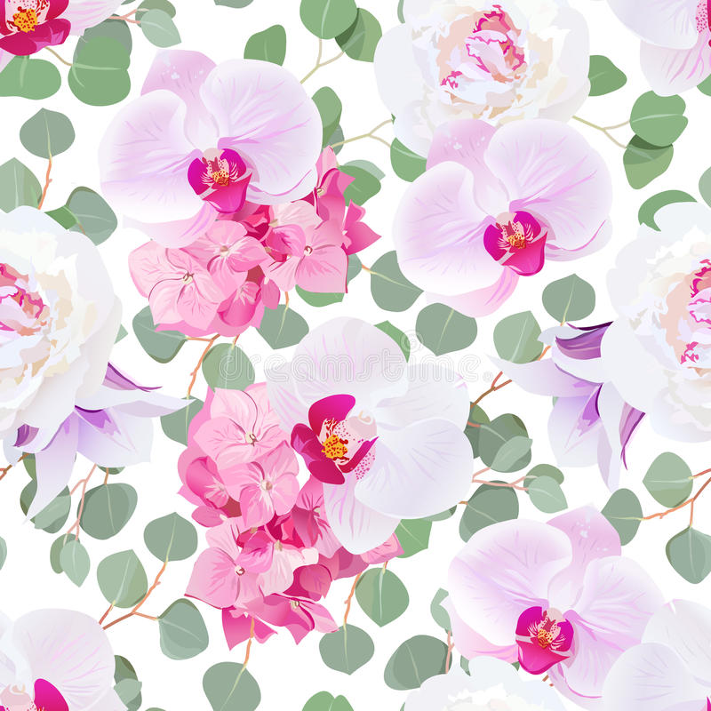 White peony, pink hydrangea, purple orchid, violet campanula and eucalyptus leaves seamless vector pattern. Tileable design print on white background stock illustration