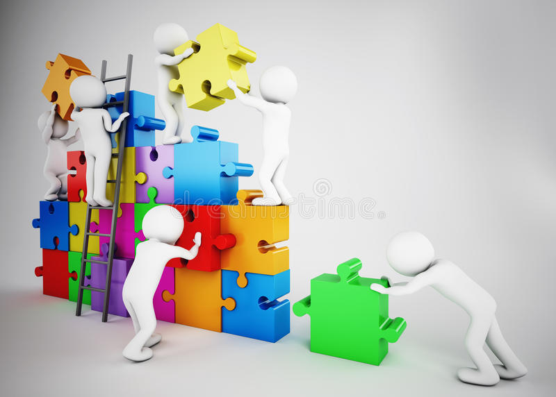 White people build a company. Concept of parthership and teamwork. 3D rendering vector illustration