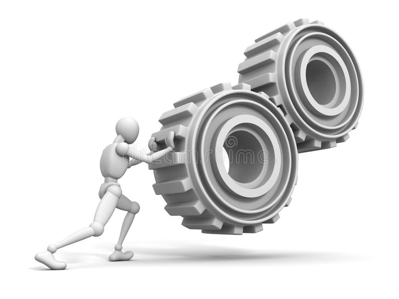 White person man pushes a heavy gears. 3d royalty free illustration