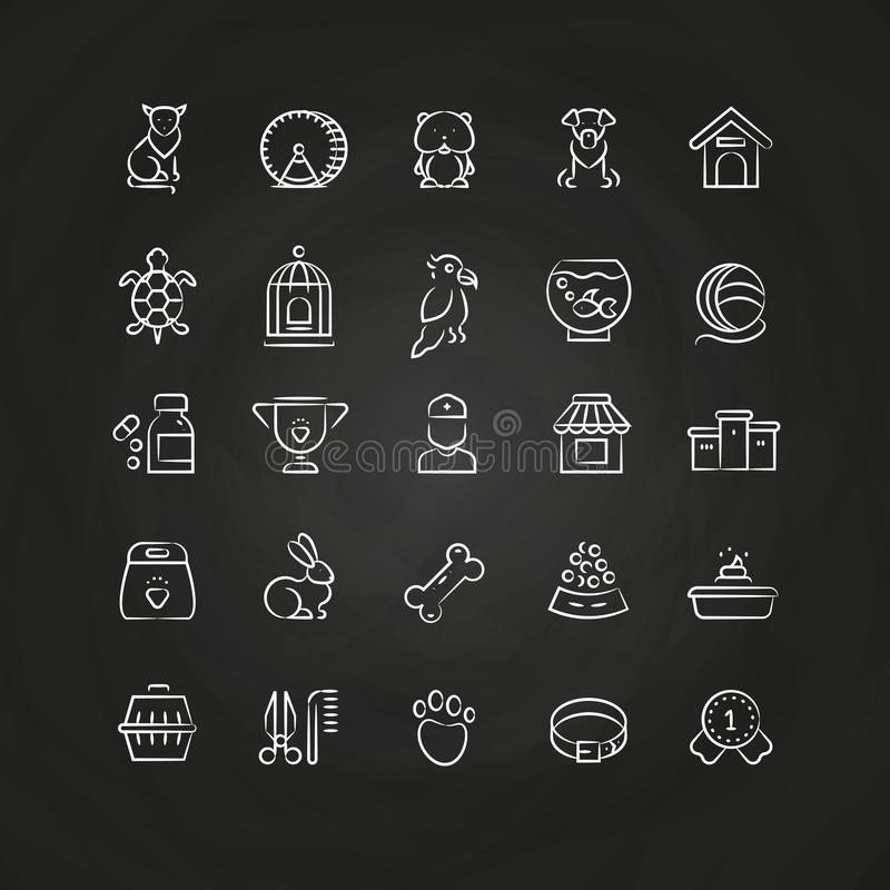 White pet shop, animals hand drawn line vector icons royalty free illustration