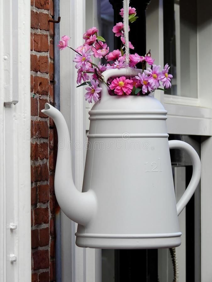 White Petaled Flower With Teapot Vase Hanging Ornament Free Public Domain Cc0 Image