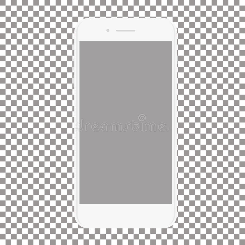 White phone with blank screen on a transparent background vector illustration