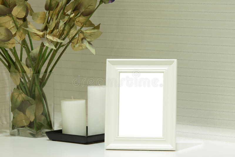 White Photo Frame stock photo
