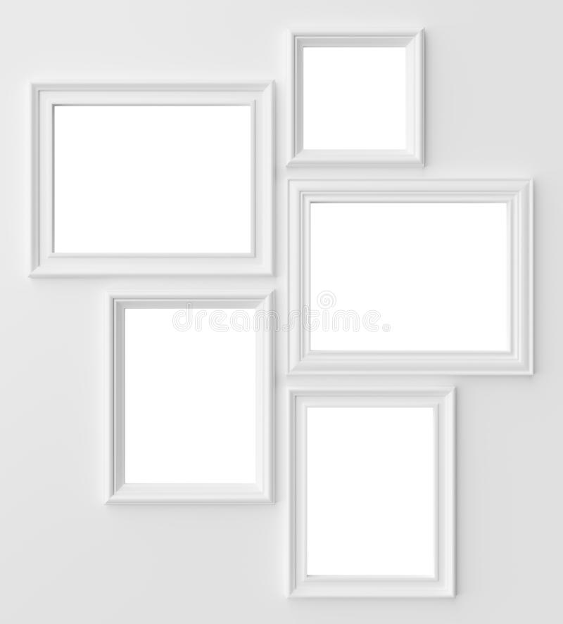 White photo frames on white wall with copy-space vector illustration