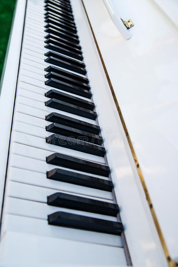 White piano keys close-up stock images
