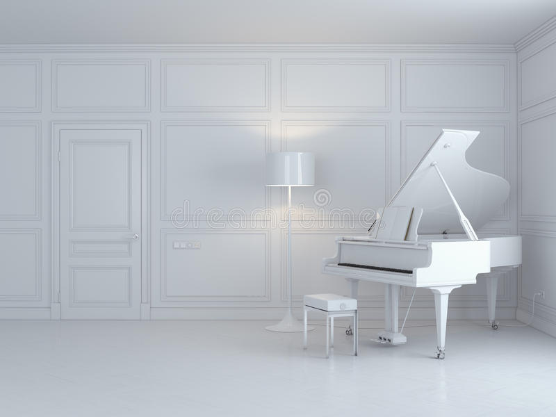 White piano in a white interior royalty free illustration