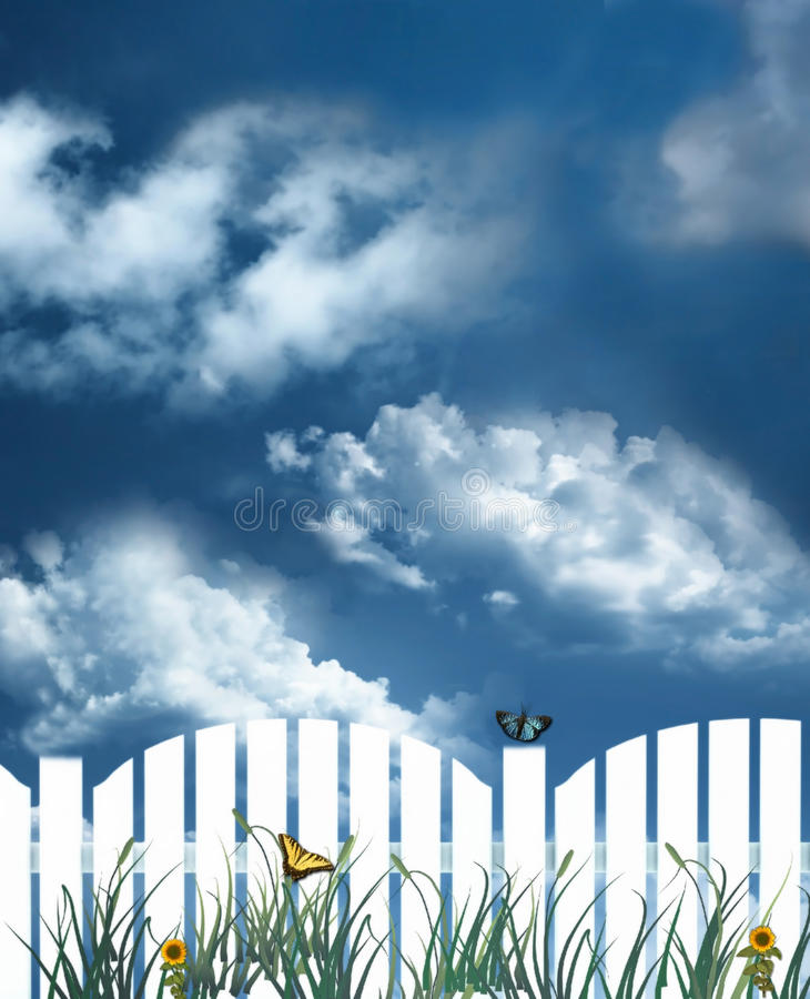 Download White picket fence stock illustration. Illustration of clouds - 15668744