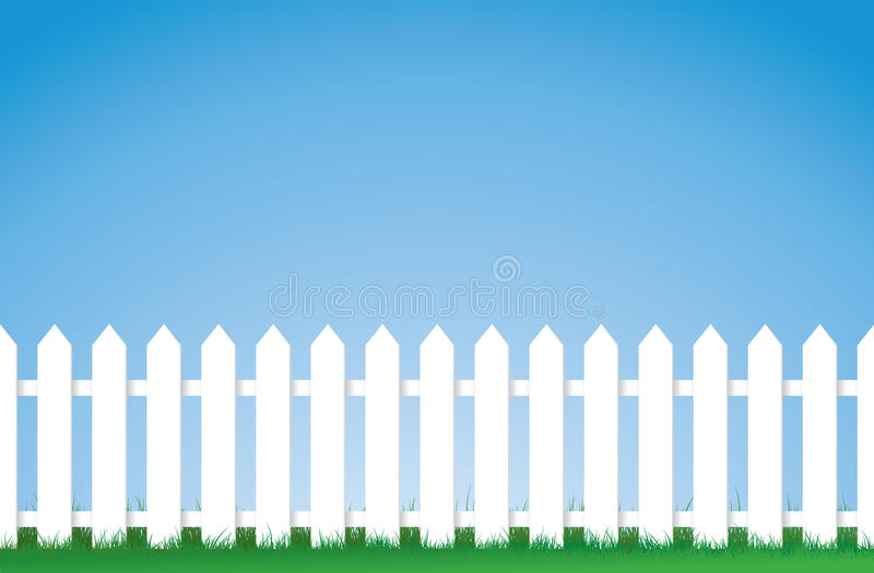 White picket fence. A vector illustration of a white picket fence, Image contains lots of space for copy. Eps version 8 vector illustration