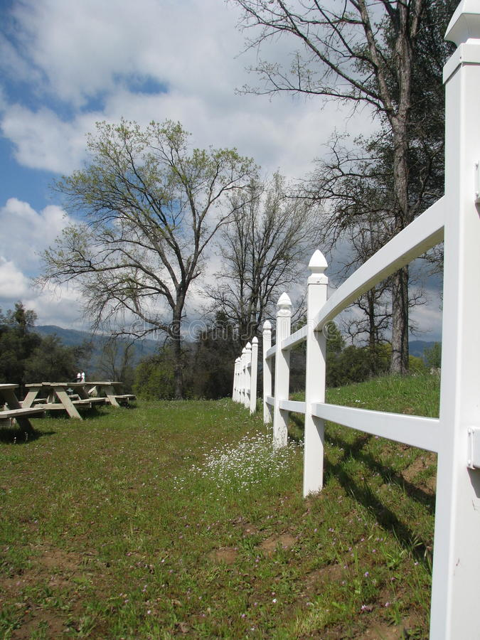 White picket fence in flowering meadow royalty free stock image