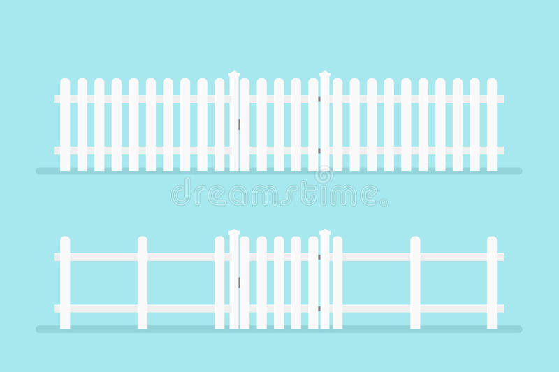 White picket fence with gate. Vector illustration isolated on background royalty free illustration