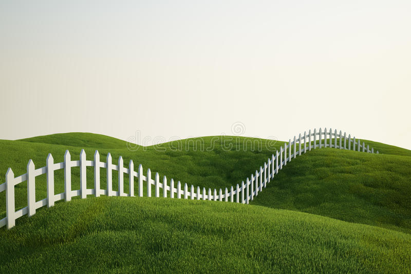 White picket fence on grass stock illustration