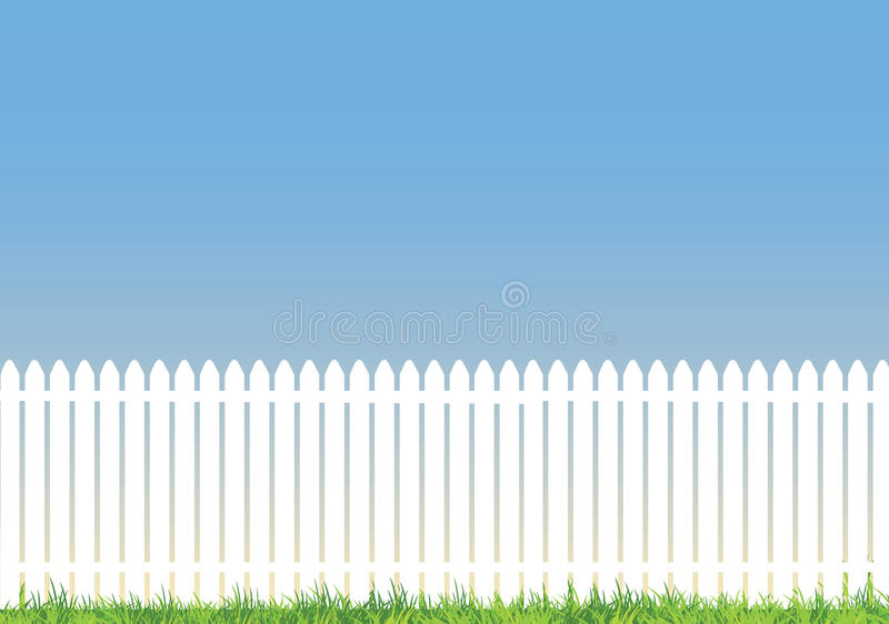White picket fence with lots of space for copy. White picket fence with blue background and lots of space for copy vector illustration