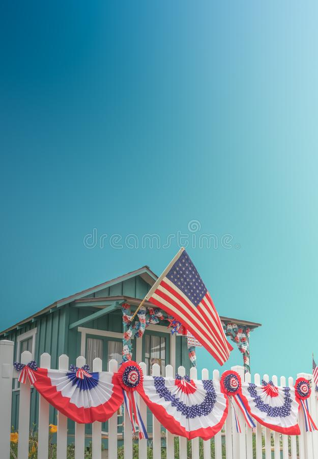 White Picket Fence Patriotic USA Home royalty free stock photo