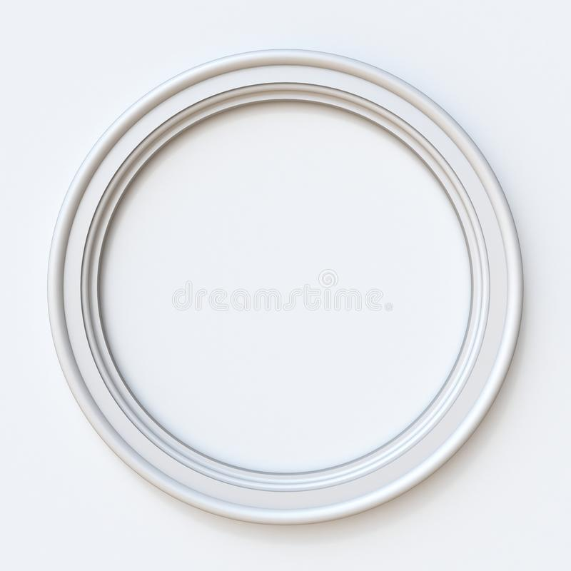 White picture frame circular 3D rendering illustration on white royalty free illustration
