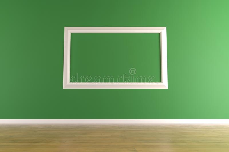 Download White Picture Frame On Green Wall Royalty Free Stock Photography - Image: 19750257