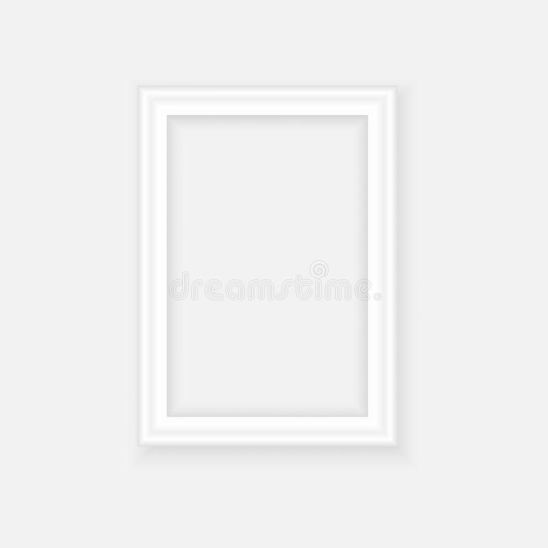 White picture frame. Landscape orientation. Minimalistic detailed photo realistic frame. Graphic design element for scrapbooking,. Art work presentation, web stock illustration