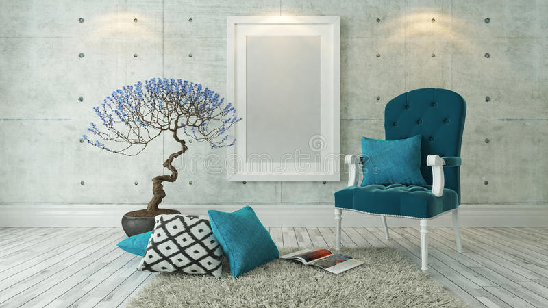 white picture frames with blue bergere and concrete wall, background, template design royalty free illustration