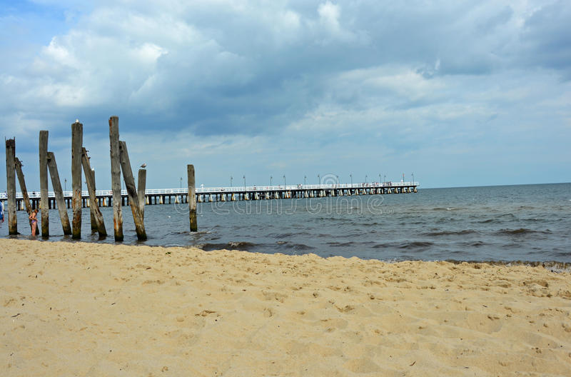 White pier by the Baltic Sea stock images