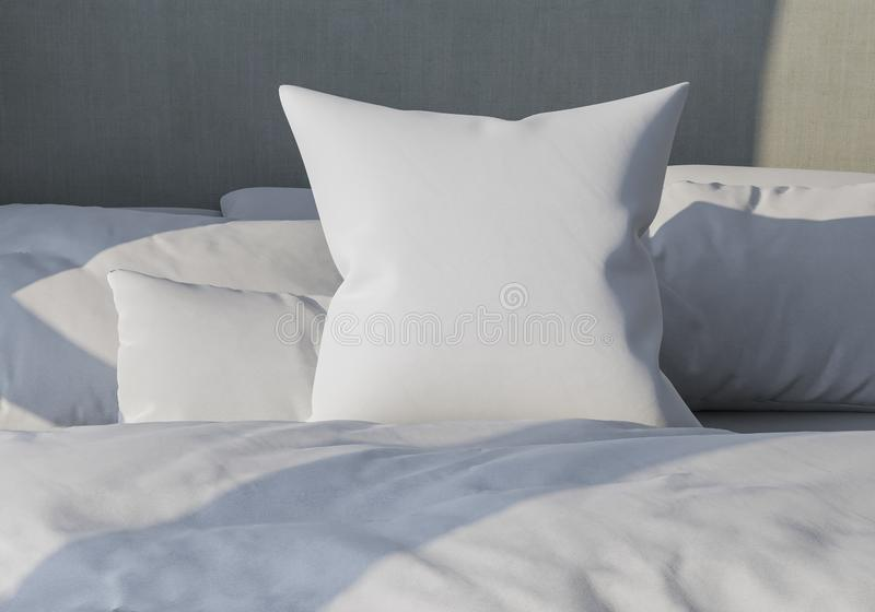 White pillow on the background of bedding. Bed made up. 3d render. lightness and sleep. mockup. White pillow on the background of bedding. Bed made up. 3d render royalty free illustration