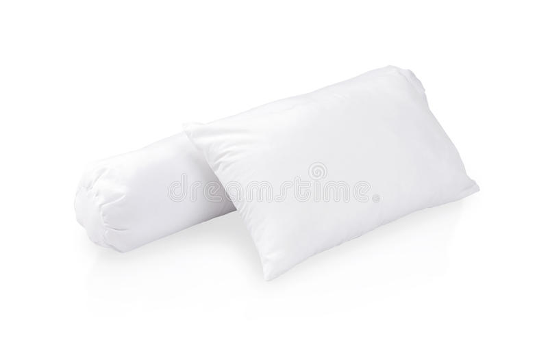 White pillow and bolster. On white background royalty free stock photos