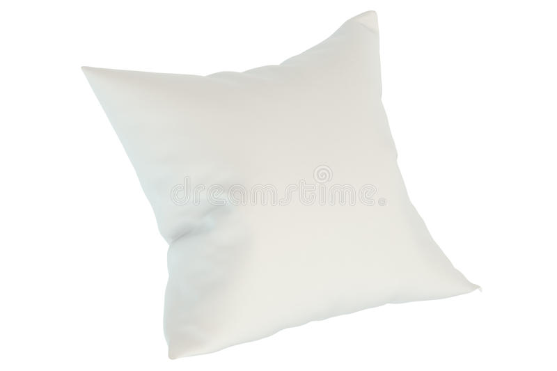 White pillow, 3D rendering. Isolated on white background stock illustration