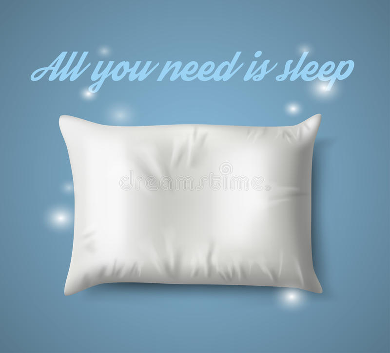 White Pillow with magic on Blue Background, Real Shadow. Vector illustration. White Pillow with magic on Blue Background with Real Shadow. Top View of a Soft stock illustration