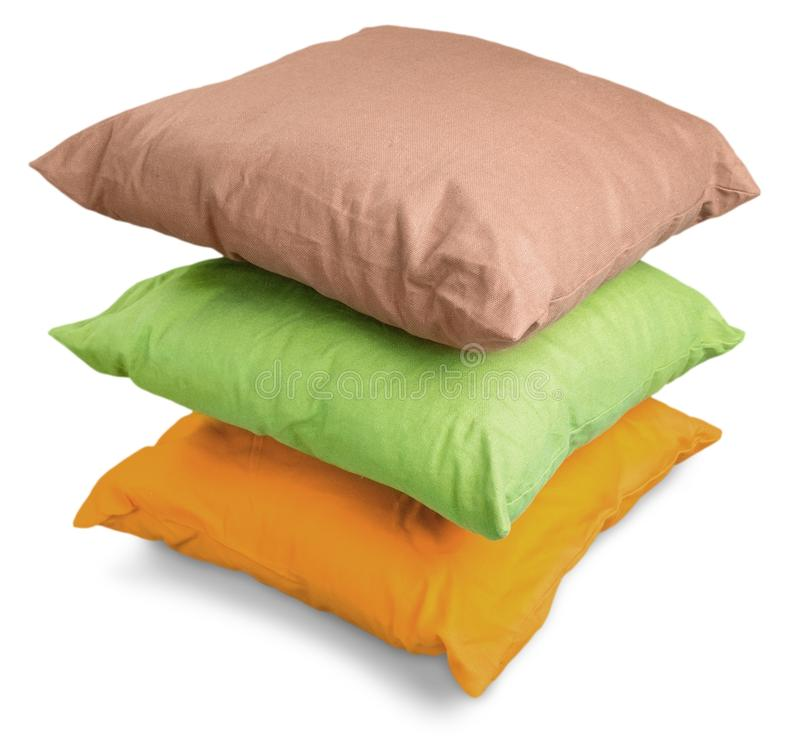 White Pillows Pile on grey background stock images