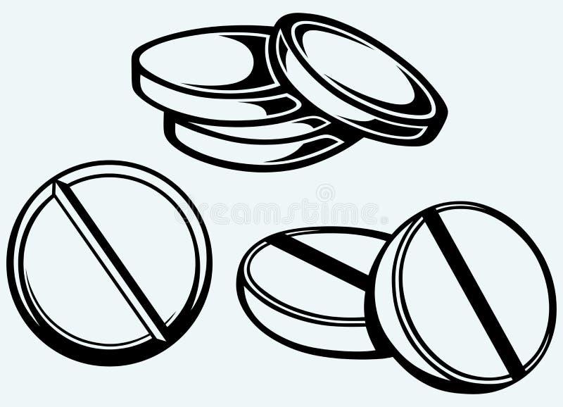 White pills stock illustration