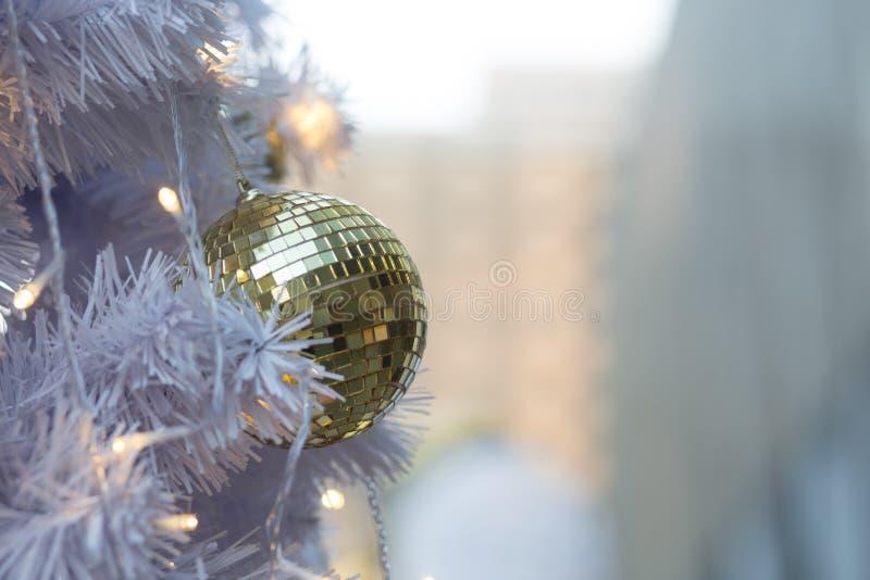 White pine Christmas ball background. Christmas ball golden Winter background stock image