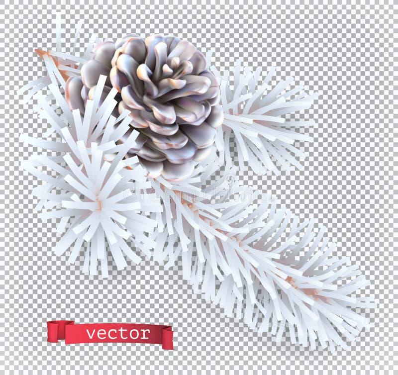 White pine cone christmas decoration. 3d vector icon stock photo