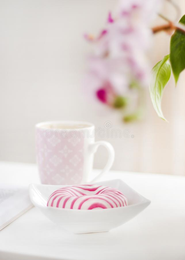 White and Pink Ceramic Mug royalty free stock images