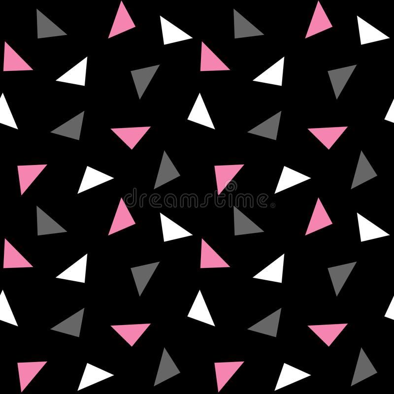 White pink gray triangles pattern on black background seamless v. Ector royalty free illustration