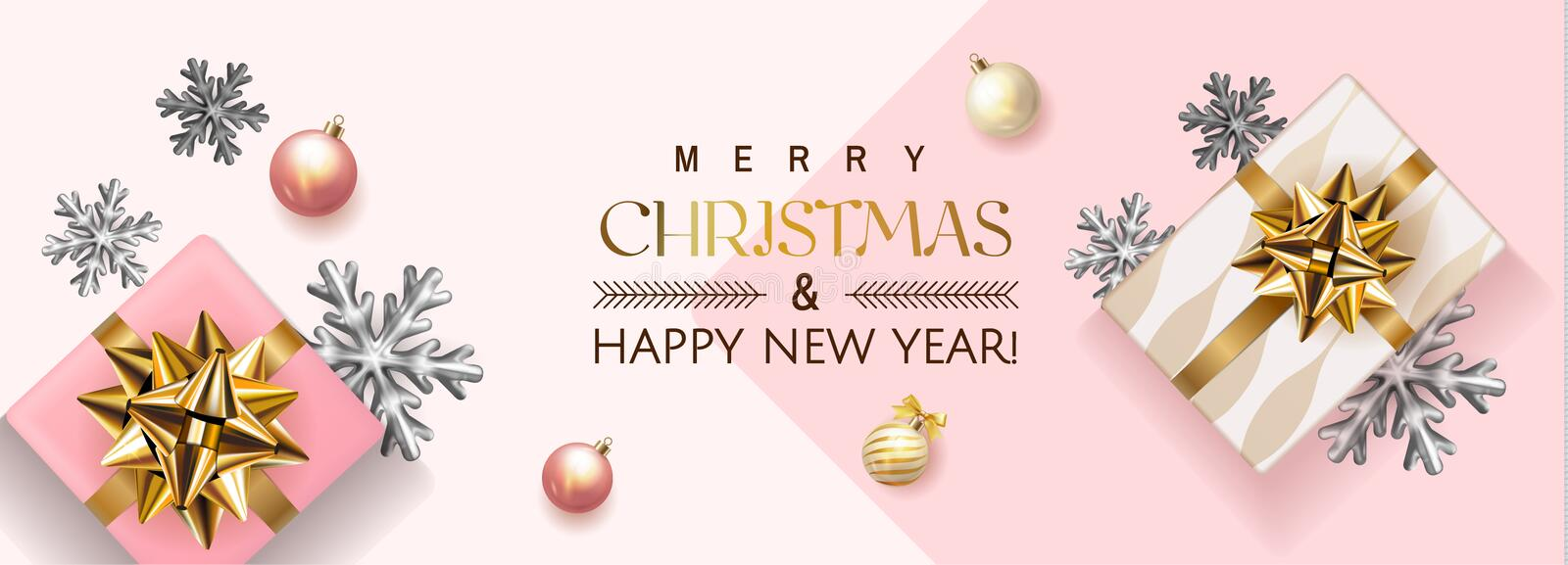 White and pink Merry Christmas and Happy New Year Holiday soft banner illustration with realistic vector 3d objects stock illustration