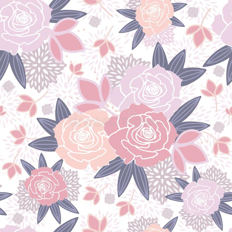 White Pink Purple Blush Floral Spring Seamless Pattern vector illustration